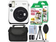 Fujifilm Instax Mini 70 Fuji Instant Film Camera Moon White + 40 Film Bundle