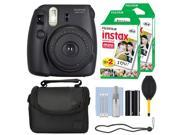 Fuji Fujifilm Instax Mini 8 Instant Film Camera Black + 40 Film Accessory Kit