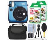 Fujifilm Instax Mini 70 Fuji Instant Film Camera Island Blue + 40 Film Bundle