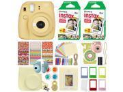 Fuji Instax Mini 8+ Fujifilm Instant Film Camera Honey + 40 Film Deluxe Bundle