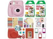 Fujifilm Instax Mini 8+ Instant Film Camera Strawberry + 40 Film Deluxe Bundle