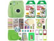 Fujifilm Instax Mini 9 Instant Film Camera Lime Green + 40 Film Deluxe Bundle