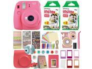 Fujifilm Instax Mini 9 Instant Film Camera Flamingo Pink + 40 Film Deluxe Bundle