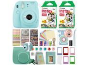 Fujifilm Instax Mini 9 Instant Film Camera Ice Blue + 40 Film Deluxe Bundle