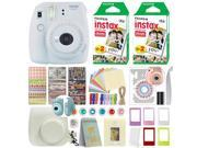 Fujifilm Instax Mini 9 Instant Film Camera Smokey White + 40 Film Deluxe Bundle