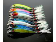 10pcs Fishing Lure Minnow Wobblers Hard Bait with Feather Hooks Fishing Tackle 7.2G 9CM Isca Artificial Bait Crankbait Swimbait 9SIABMK55P8100