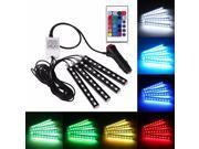 Car RGB LED Strip Light 4pcs LED Strip Lights 16 Colors Car Styling Decorative Atmosphere Lamps Car Interior Light With Remote