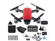 DJI Spark Quadcopter Fly More Combo (Lava Red) CP.PT.000735 + 4 Battery Bundle
