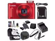 Canon PowerShot SX610 HS Digital Camera Red International Model No Warranty 0113C001 NB 6L Battery External Charger 32GB SDHC Card Case Mini HDMI