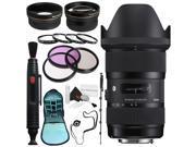 Sigma 18-35mm f/1.8 DC HSM Art Lens for Nikon # 210-306 + 72mm 3 Piece Filter Kit + Lens Pen Cleaner + 72mm Wide Angle Lens + 272mm 2x Telephoto Lens + SLR Came