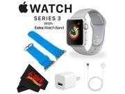 Apple Watch Series 3 42mm Smartwatch (GPS Only, Silver Aluminum Case, Fog Sport Band) + WATCH BAND BLUE 42MM + MicroFiber Cloth Bundle