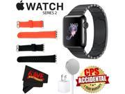 Apple Watch Series 2 38mm Smartwatch (Space Black Stainless Steel Case, Space Black Link Band) + WATCH BAND BLACK 38mm + WATCH BAND RED 38mm + MicroFiber Cloth