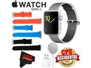 Apple Watch Series 2 42mm Smartwatch (Silver Aluminum Case, Pearl Woven Nylon Band) + WATCH BAND BLACK 42MM + WATCH BAND RED 42MM + WATCH BAND BLUE 42MM + Micro