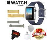 Apple Watch Series 2 38mm Smartwatch ( Stainless Steel Case, Midnight Blue Medium Modern Buckle Band) + WATCH BAND GOLD MESH 38mm + WATCH BAND SPACE GRAY MESH 3