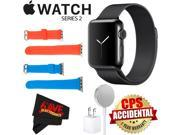 Apple Watch Series 2 38mm Smartwatch (Space Black Stainless Steel Case, Space Black Milanese Loop Band) + WATCH BAND RED 38mm + WATCH BAND BLUE 38mm + MicroFibe