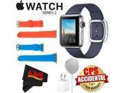 Apple Watch Series 2 38mm Smartwatch ( Stainless Steel Case, Midnight Blue Medium Modern Buckle Band) + WATCH BAND RED 38mm + WATCH BAND BLUE 38mm + MicroFiber