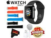 Apple Watch Series 2 38mm Smartwatch (Space Black Stainless Steel Case, Space Black Sport Band) + WATCH BAND BLACK 38mm + WATCH BAND RED 38mm + WATCH BAND BLUE