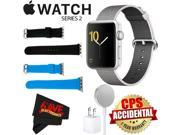 Apple Watch Series 2 42mm Smartwatch (Silver Aluminum Case, Pearl Woven Nylon Band) + WATCH BAND BLACK 42MM + WATCH BAND BLUE 42MM + MicroFiber Cloth Bundle