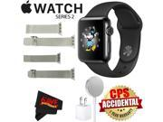 Apple Watch Series 2 38mm Smartwatch (Space Black Stainless Steel Case, Space Black Sport Band) + WATCH BAND SILVER MESH 38mm + WATCH BAND SPACE GRAY MESH 38mm