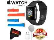 Apple Watch Series 2 38mm Smartwatch (Space Black Stainless Steel Case, Space Black Sport Band) + WATCH BAND RED 38mm + WATCH BAND BLUE 38mm + MicroFiber Cloth