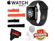 Apple Watch Series 2 38mm Smartwatch (Space Black Stainless Steel Case, Space Black Sport Band) + WATCH BAND BLACK 38mm + WATCH BAND RED 38mm + MicroFiber Cloth
