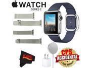 Apple Watch Series 2 38mm Smartwatch ( Stainless Steel Case, Midnight Blue Medium Modern Buckle Band) + WATCH BAND SILVER MESH 38mm + WATCH BAND SPACE GRAY MESH