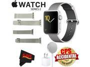 Apple Watch Series 2 42mm Smartwatch (Silver Aluminum Case, Pearl Woven Nylon Band) + WATCH BAND SILVER MESH 42MM + WATCH BAND SPACE GRAY MESH 42MM + MicroFiber