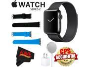 Apple Watch Series 2 38mm Smartwatch (Space Black Stainless Steel Case, Space Black Milanese Loop Band) + WATCH BAND BLACK 38mm + WATCH BAND BLUE 38mm + MicroFi