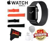 Apple Watch Series 2 38mm Smartwatch (Space Black Stainless Steel Case, Space Black Milanese Loop Band) + WATCH BAND BLACK 38mm + WATCH BAND RED 38mm + MicroFib