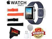 Apple Watch Series 2 38mm Smartwatch ( Stainless Steel Case, Midnight Blue Medium Modern Buckle Band) + WATCH BAND BLACK 38mm + WATCH BAND RED 38mm + MicroFiber