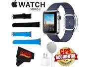 Apple Watch Series 2 38mm Smartwatch ( Stainless Steel Case, Midnight Blue Medium Modern Buckle Band) + WATCH BAND BLACK 38mm + WATCH BAND BLUE 38mm + MicroFibe