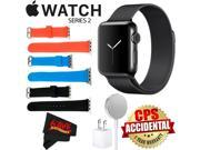 Apple Watch Series 2 38mm Smartwatch (Space Black Stainless Steel Case, Space Black Milanese Loop Band) + WATCH BAND BLACK 38mm + WATCH BAND RED 38mm + WATCH BA