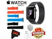 Apple Watch Series 2 38mm Smartwatch (Space Black Stainless Steel Case, Space Black Link Band) + WATCH BAND BLACK 38mm + WATCH BAND RED 38mm + WATCH BAND BLUE 3
