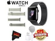 Apple Watch Series 2 38mm Smartwatch (Space Black Stainless Steel Case, Space Black Link Band) + WATCH BAND SILVER MESH 38mm + WATCH BAND SPACE GRAY MESH 38mm +