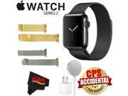 Apple Watch Series 2 38mm Smartwatch (Space Black Stainless Steel Case, Space Black Milanese Loop Band) + WATCH BAND GOLD MESH 38mm + WATCH BAND SPACE GRAY MESH
