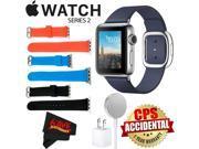 Apple Watch Series 2 38mm Smartwatch ( Stainless Steel Case, Midnight Blue Medium Modern Buckle Band) + WATCH BAND BLACK 38mm + WATCH BAND RED 38mm + WATCH BAND