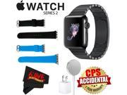 Apple Watch Series 2 38mm Smartwatch (Space Black Stainless Steel Case, Space Black Link Band) + WATCH BAND BLACK 38mm + WATCH BAND BLUE 38mm + MicroFiber Cloth