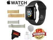 Apple Watch Series 2 38mm Smartwatch (Space Black Stainless Steel Case, Space Black Sport Band) + WATCH BAND ROSE GOLD MESH 38mm + WATCH BAND SILVER MESH 38mm +