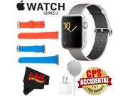 Apple Watch Series 2 42mm Smartwatch (Silver Aluminum Case, Pearl Woven Nylon Band) + WATCH BAND RED 42MM + WATCH BAND BLUE 42MM + MicroFiber Cloth Bundle