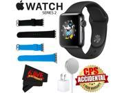 Apple Watch Series 2 38mm Smartwatch (Space Black Stainless Steel Case, Space Black Sport Band) + WATCH BAND BLACK 38mm + WATCH BAND BLUE 38mm + MicroFiber Clot