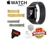Apple Watch Series 2 38mm Smartwatch (Space Black Stainless Steel Case, Space Black Link Band) + WATCH BAND GOLD MESH 38mm + WATCH BAND SPACE GRAY MESH 38mm + M