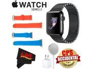 Apple Watch Series 2 38mm Smartwatch (Space Black Stainless Steel Case, Space Black Link Band) + WATCH BAND RED 38mm + WATCH BAND BLUE 38mm + MicroFiber Cloth B