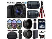 Canon EOS 80D DSLR Camera with 18-55mm is STM Lens & 55-250mm is STM Lens + Camera Case + UV FLD CPL Filter Kit + Wide Angle & Telephoto Lens + Tripod + Card Re