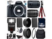 Canon EOS Rebel SL2 DSLR Camera with 18-135mm is USM Lens & 55-250mm is STM Lens + Tripod + Flash + UV FLD CPL Filter Kit + Wide Angle & Telephoto Lens + Case +