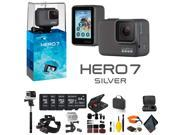 GoPro HERO7 SILVER - Bundle Includes: 4 64GB Memory Cards, Case, Chest Mount, Handle Bar Mount, Selfie Stick, Floating Strap, and More.