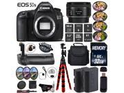 Canon EOS 5DS DSLR Camera With 50mm 1.8 STM Lens + Professional Battery Grip + 4PC Macro Filter Kit + LED Kit + Extra Battery + Case + 32GB Memory Card + Tripod