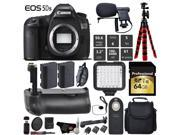 Canon EOS 5DS R DSLR Camera (Body Only) + Professional Battery Grip + Condenser Microphone + LED Kit + Extra Battery + Case + 64GB Memory Card + Tripod + Card R