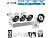 A-ZONE 4CH 960P NVR Wireless CCTV Security Camera System -Four 1280x960P 1.3-Megapixel Weatherproof Wifi IP Surveillance Camera Kit for Home, Office, 80ft IR LE 9SIABRG5R65153