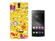 Oneplus One 1 - 2014 Gel Silicone Case All Edges Protection Cover C0889 - Cool Smiley Emoji Collage Heart Eyes Laughing Crying Vampire Cool Sunglasses
