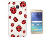 Samsung Galaxy J2 (2016) Gel Silicone Case protection Cover C0389 - Trendy Kawaii Bugs Ladybird Green Nature